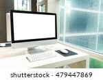 computer  on table in office ... | Shutterstock . vector #479447869