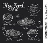 thai food chalk draw on black... | Shutterstock .eps vector #479467324