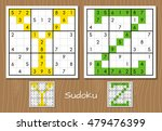 sudoku vector set with answers. ... | Shutterstock .eps vector #479476399