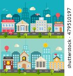two seamless urban landscapes...   Shutterstock .eps vector #479510197