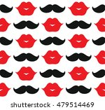 lips and mustache. seamless... | Shutterstock .eps vector #479514469