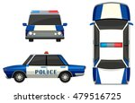 police car in three different...