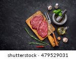 raw steak with spices and... | Shutterstock . vector #479529031