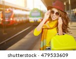 pretty young woman at a train... | Shutterstock . vector #479533609