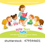 teacher reading for kids in the ... | Shutterstock .eps vector #479544601
