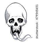 human skull with  tongue of... | Shutterstock . vector #479545651