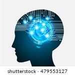 neon human head. cpu. blue... | Shutterstock .eps vector #479553127