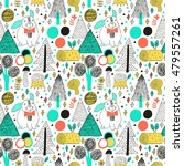 rabbit in forest seamless... | Shutterstock .eps vector #479557261