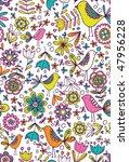 retro birds and flowers vector... | Shutterstock .eps vector #47956228