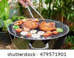meat on barbecue grill cooked... | Shutterstock . vector #479571901