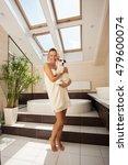 faithful dog beside the woman... | Shutterstock . vector #479600074