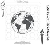 globe icon with vector map  | Shutterstock .eps vector #479614591