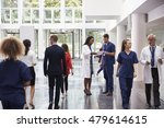 staff in busy lobby area of... | Shutterstock . vector #479614615