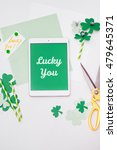 """lucky you"" message for saint... | Shutterstock . vector #479645371"