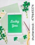 """lucky you"" message for saint... | Shutterstock . vector #479645374"