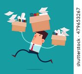 young businessman carry boxes...   Shutterstock .eps vector #479653267