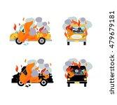 vector of burning car on white... | Shutterstock .eps vector #479679181