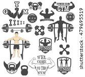 vintage weight lifting label... | Shutterstock .eps vector #479695519