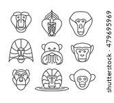 monkey  vector outline... | Shutterstock .eps vector #479695969