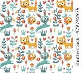 Seamless Cute Animal Pattern...