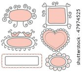 set of pink and gray funny... | Shutterstock .eps vector #47974525