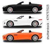 realistic cabriolet car. set   Shutterstock .eps vector #479757025