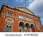 Beautiful architecture on the Victoria & Albert museum in London - stock photo
