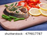 fried grilled steak of salmon... | Shutterstock . vector #479817787