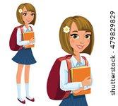 happy schoolgirl standing and... | Shutterstock .eps vector #479829829