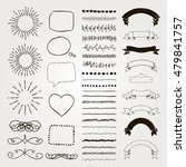 set of black hand drawn doodle... | Shutterstock .eps vector #479841757