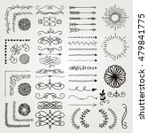 set of black hand drawn doodle... | Shutterstock .eps vector #479841775