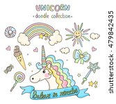 unicorn set. doodle collection... | Shutterstock .eps vector #479842435