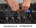 dj hands on equipment deck and... | Shutterstock . vector #479843545