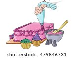 a cake being decorated with... | Shutterstock .eps vector #479846731