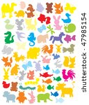 Stock vector silhouettes of animals 47985154