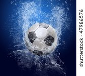 water drops around soccer ball...   Shutterstock . vector #47986576