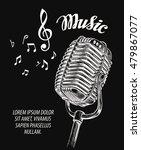 hand drawn vintage microphone... | Shutterstock .eps vector #479867077