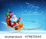 santa claus in a sleigh pulled... | Shutterstock .eps vector #479870545