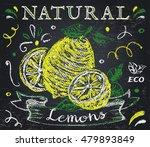 lemon label. hand drawn citrus... | Shutterstock .eps vector #479893849