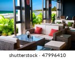 Summer bar lounge at the beach - stock photo