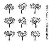 set of black trees. vector...   Shutterstock .eps vector #479977531