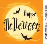 happy halloween hand lettering...   Shutterstock .eps vector #480001501