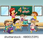 teacher and students in... | Shutterstock .eps vector #480015391