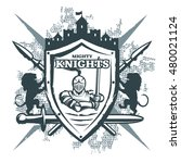 mighty knights print with... | Shutterstock .eps vector #480021124