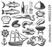 seafood icon set with fish and... | Shutterstock .eps vector #480021229