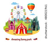amusement park colorful... | Shutterstock .eps vector #480021961