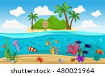 colored underwater world island ...   Shutterstock .eps vector #480021964