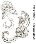 vector doodle flowers in black... | Shutterstock .eps vector #480035161
