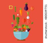 fresh vegetables salad vector... | Shutterstock .eps vector #480039751