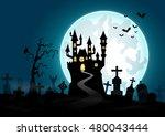 halloween background with...   Shutterstock .eps vector #480043444